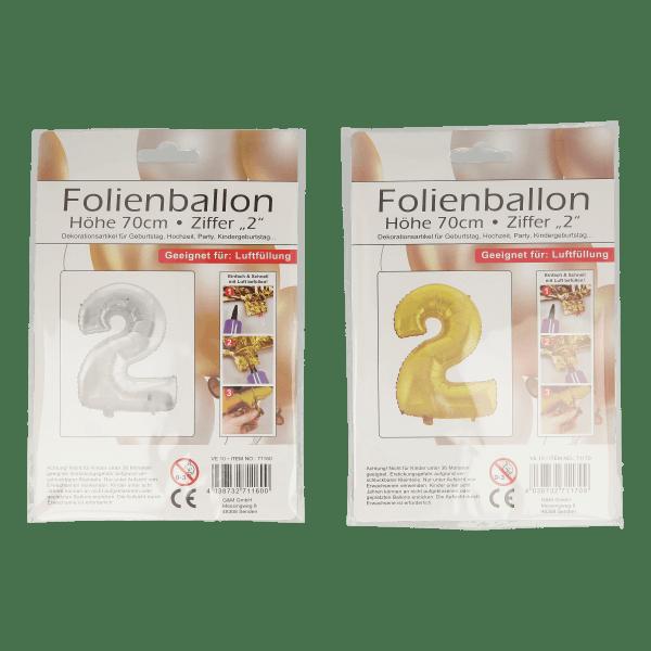 Folienballon mit Zahl 2