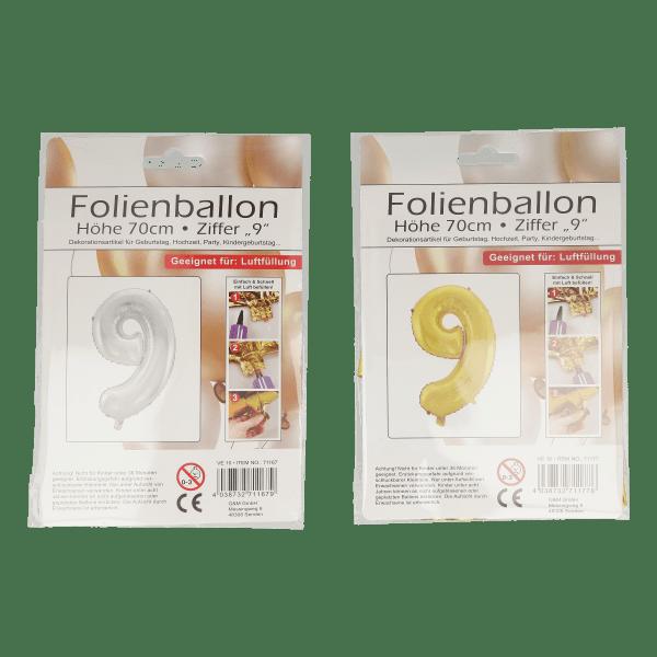 Folienballon mit Zahl 9